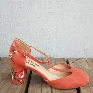 Chelsea Crew | Suede Salmon T Strap Chunky Heels